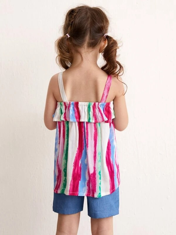 Toddler Girls Tie Dye Cami Top With Shorts