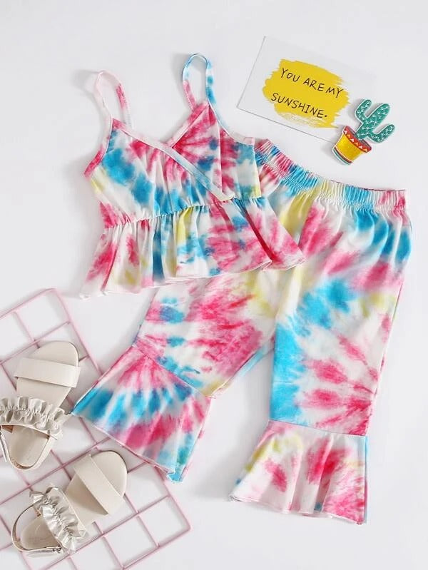 Toddler Girls Tie Dye Cami Top & Flare Leg Pants