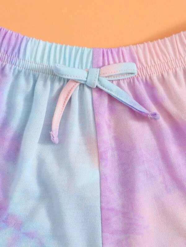 Toddler Girls Tie Dye Frill Trim Cami Top & Track Shorts