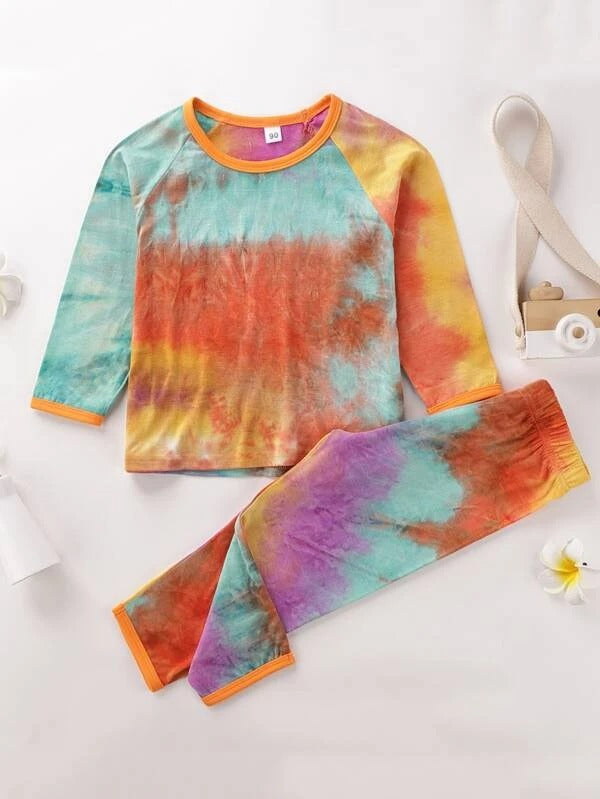 Toddler Girls Tie Dye Raglan Sleeve Tee & Pants