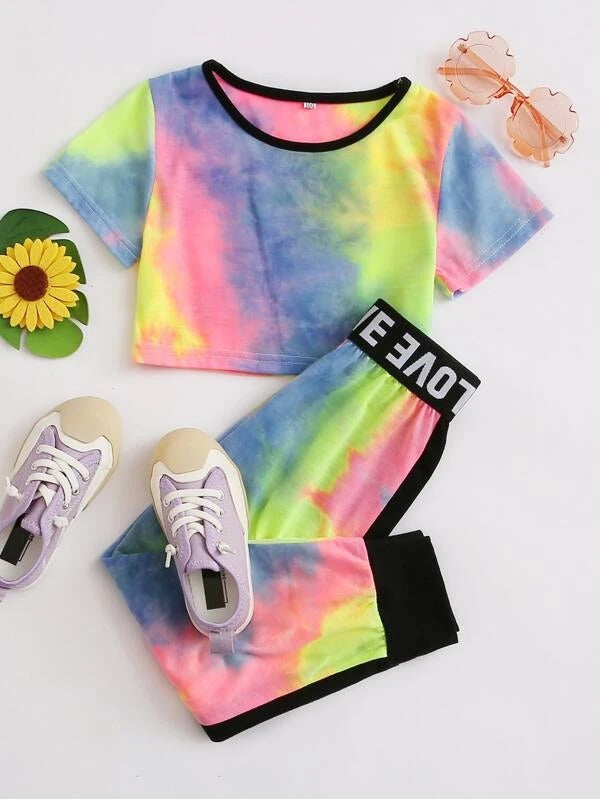 Toddler Girls Tie Dye Tee & Letter Graphic Sweatpants