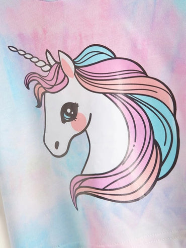 Toddler Girls Tie Dye Unicorn Print Hooded Tee