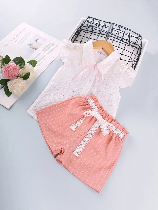 Toddler Girls Tie Front Schiffy Blouse With Striped Shorts