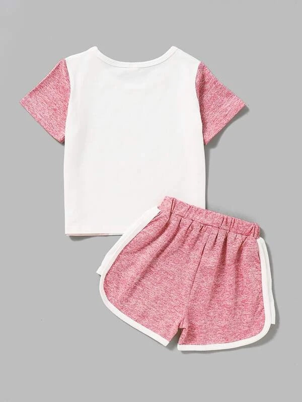 Toddler Girls Unicorn Print Contrast Sleeve Tee With Track Shorts