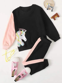 Toddler Girls Unicorn Print Sweatshirt & Sweatpants
