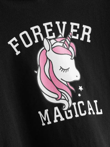 Toddler Girls Unicorn & Letter Graphic Hooded Tee