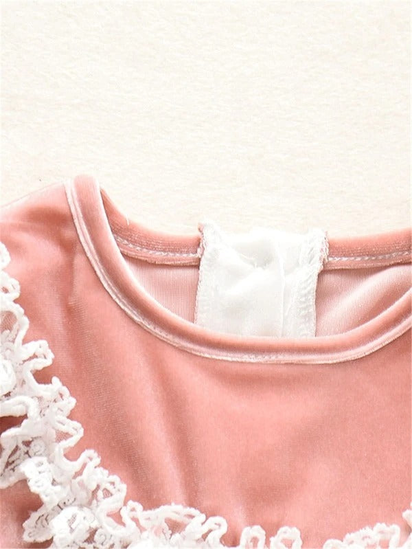 Toddler Girls Velvet Contrast Sleeve Lace Trim Top & Pants