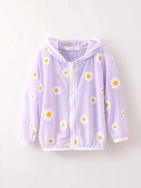 Toddler Girls Zip Front Floral Print Sunproof Jacket