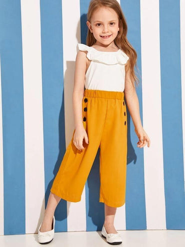 Toddler Girl Double Breasted Elastic Waist Pants