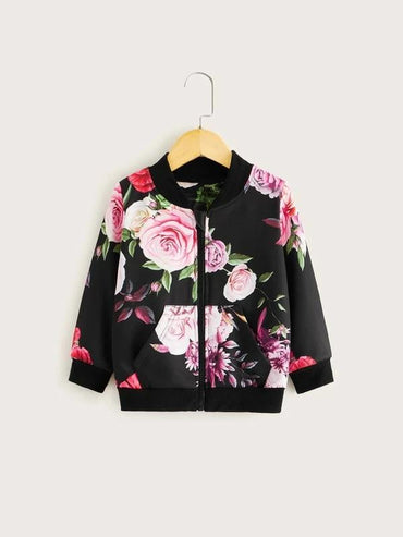 Toddler Girl Floral Print Kangaroo Pocket Bomber Jacket