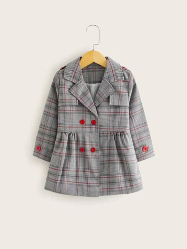 Toddler Girl Plaid Print Double Breasted Peplum Coat