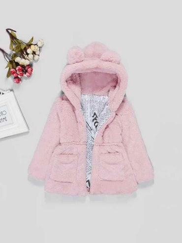 Toddler Girl Solid Faux Fur Teddy Hooded Outerwear
