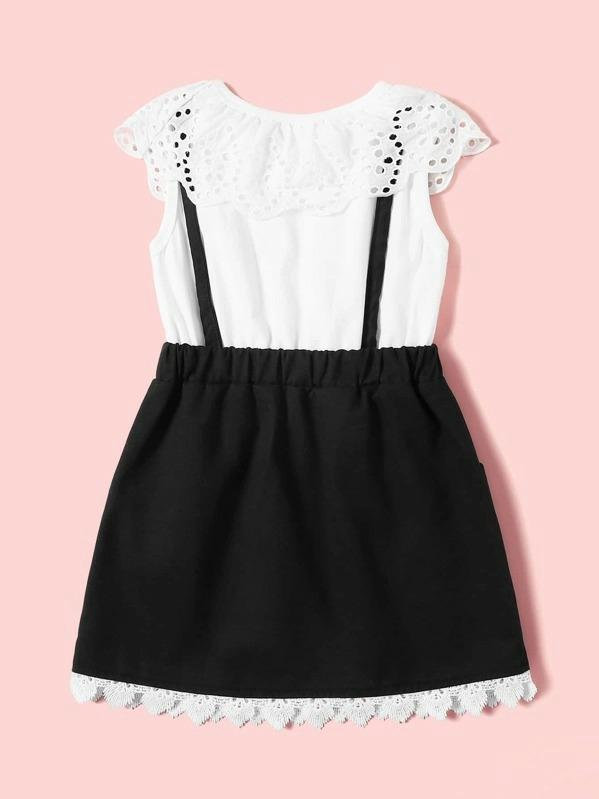 Toddler Girls 2 In 1 Contrast Schiffy Bow A-Line Dress