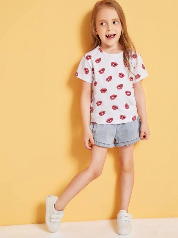 Toddler Girls Allover Lips Print Tee