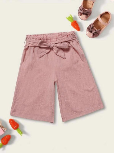 Toddler Girls Belted Solid Paperbag Shorts