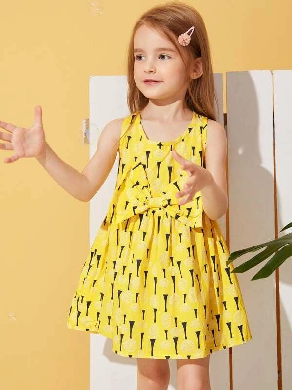 Toddler Girls Big Bow Dandelion Print Tank Dress