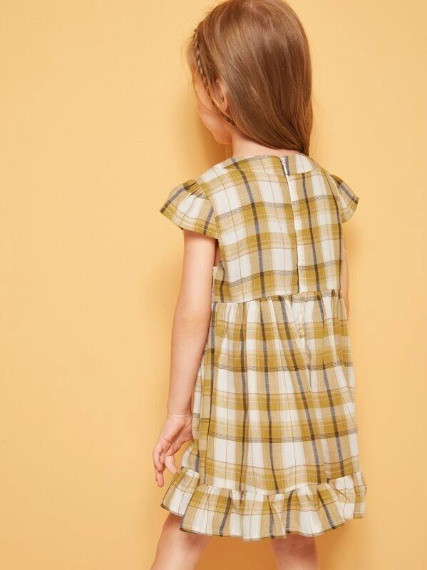 Toddler Girls Bow Detail Ruffle Hem Plaid Dress