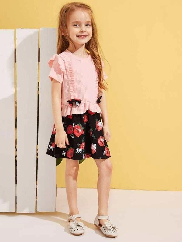 Toddler Girls Bow Front Frill Trim Dress
