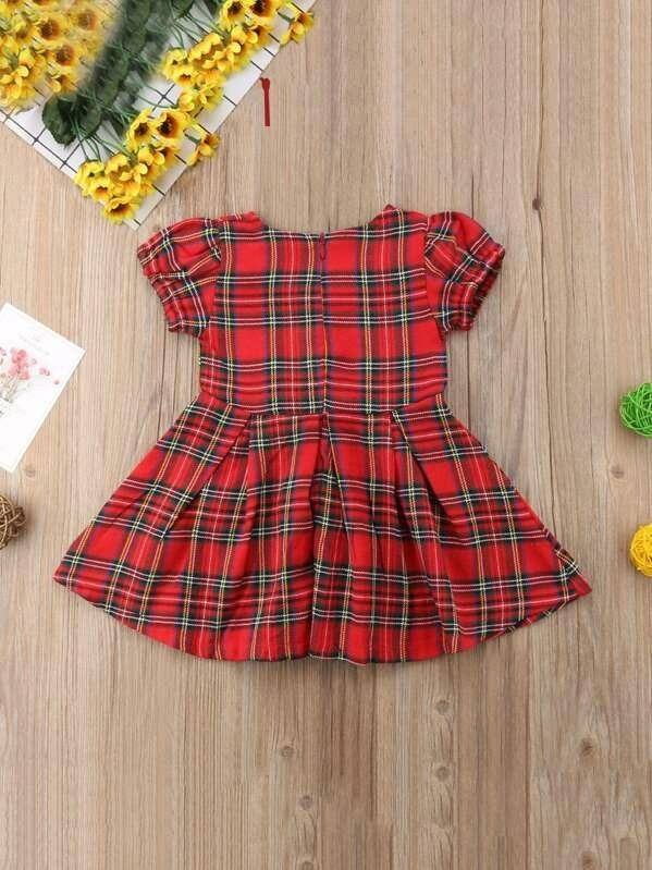 Toddler Girls Bow Front Plaid Dress
