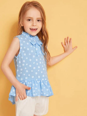 Toddler Girls Bow Front Ruffle Hem Sleeveless Top