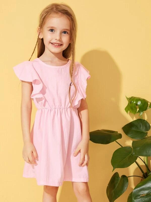 Toddler Girls Bow Front Ruffle Sleeve Dress