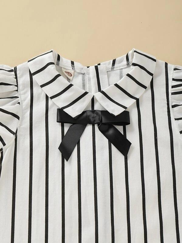Toddler Girls Bow Front Ruffle Sleeve Stripe Dress