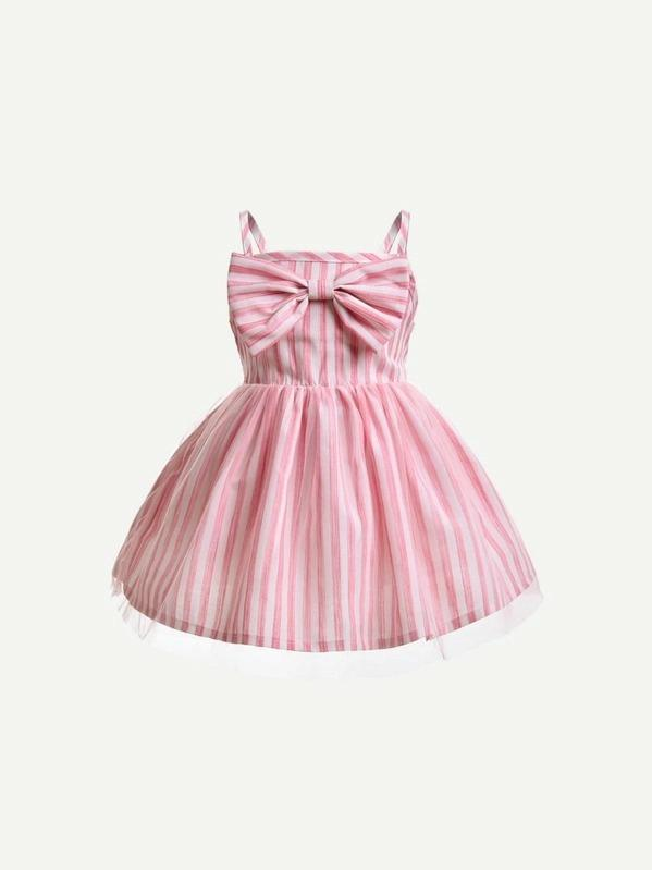 Toddler Girls Bow Striped Cami Dress