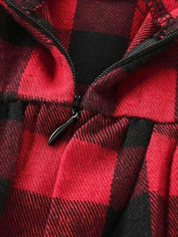 Toddler Girls Buffalo Plaid Ruffle Sleeve Babydoll Dress