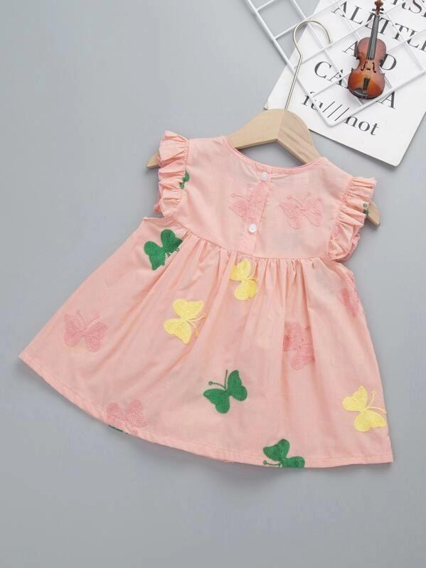 Toddler Girls Butterfly Patched Contrast Lace A-Line Dress