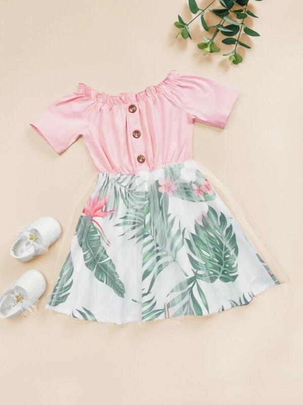Toddler Girls Button Front Tropical Print Off Shoulder Tulle Dress