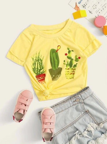 Toddler Girls Cactus Print Tee