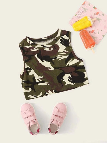 Toddler Girls Camo Pattern Crop Tank Top