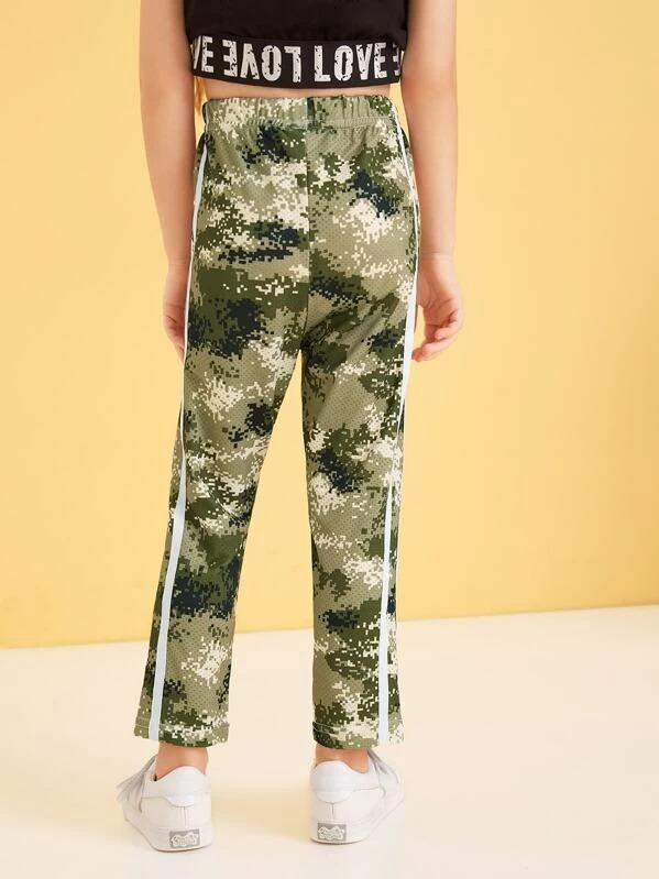 Toddler Girls Camo Print Tape Side Pants