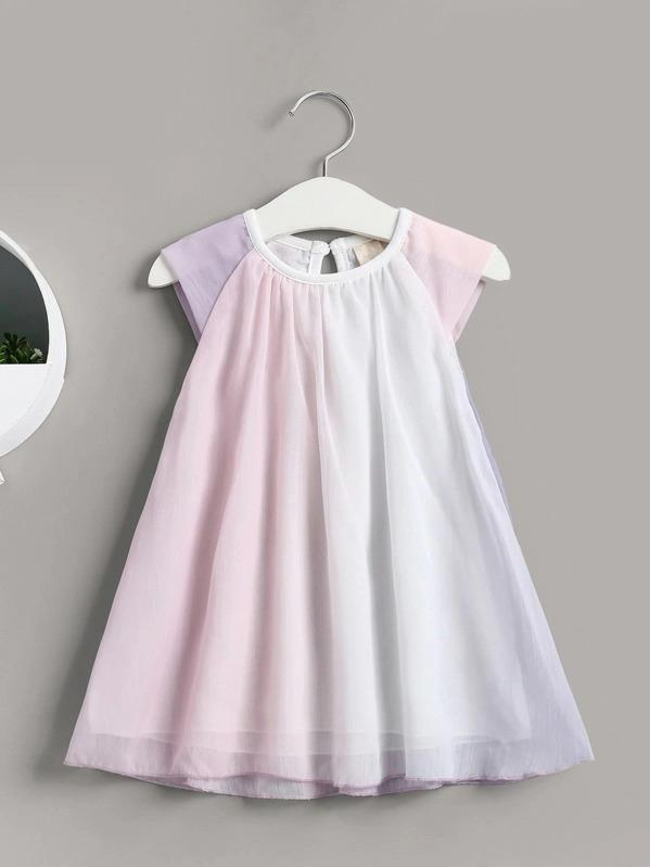 Toddler Girls Cap Sleeve Ombre Chiffon Babydoll Dress