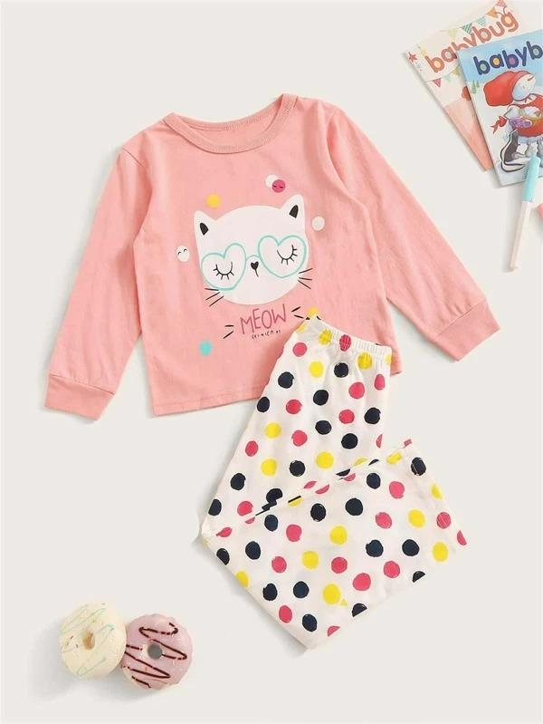 Toddler Girls Cartoon Cat Print PJ Set