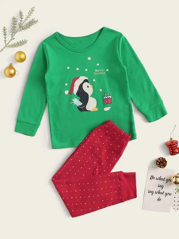 Toddler Girls Cartoon Penguin Print PJ Set