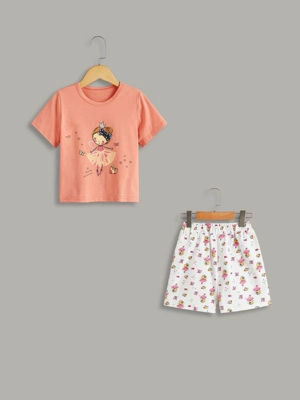 Toddler Girls Cartoon Print Pajama Set