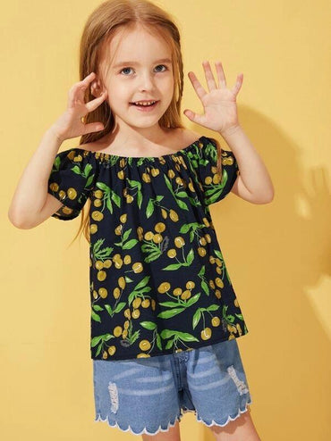 Toddler Girls Cherry Print Off Shoulder Blouse