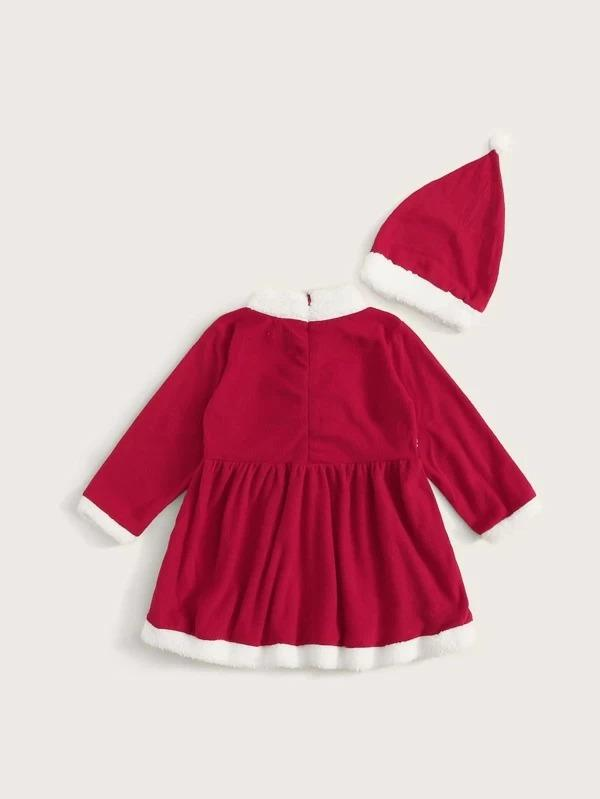 Toddler Girls Christmas Contrast Panel Flannel Dress With Hat