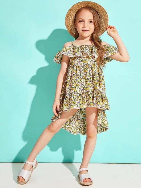 Toddler Girls Cold Shoulder Ditsy Floral Ruffle Hem Dress
