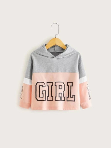 Toddler Girls Color-Block Letter Graphic Hoodie