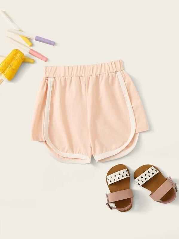 Toddler Girls Contrast Binding Dolphin Hem Shorts