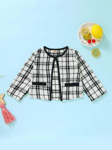 Toddler Girls Contrast Binding Plaid Tweed Jacket