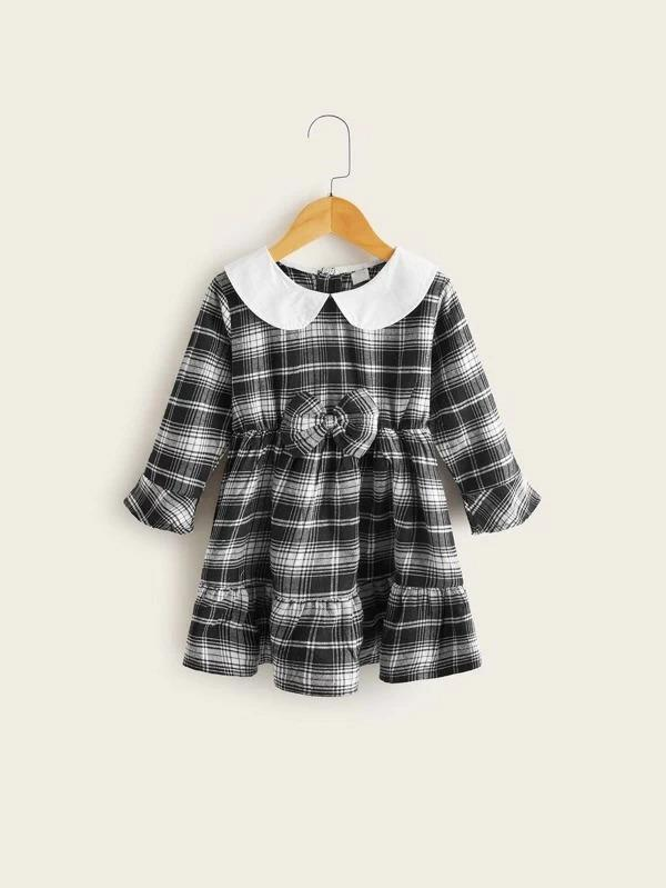 Toddler Girls Contrast Collar Bow Plaid Babydoll Dress