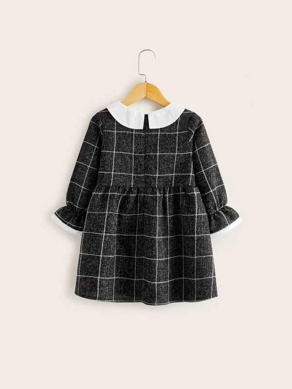 Toddler Girls Contrast Collar Flounce Sleeve Plaid Tweed Dress