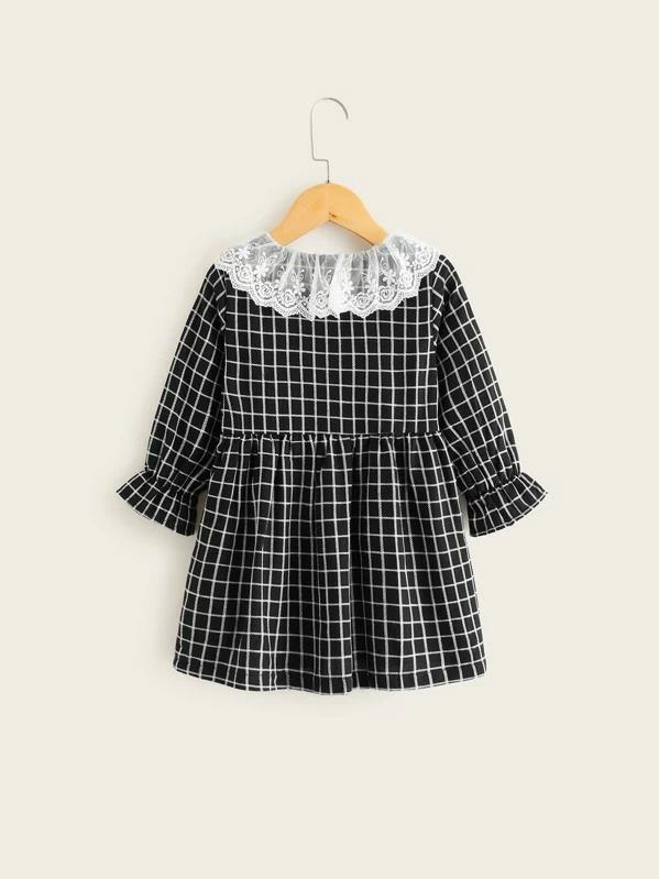 Toddler Girls Contrast Embroidery Mesh Plaid Babydoll Dress