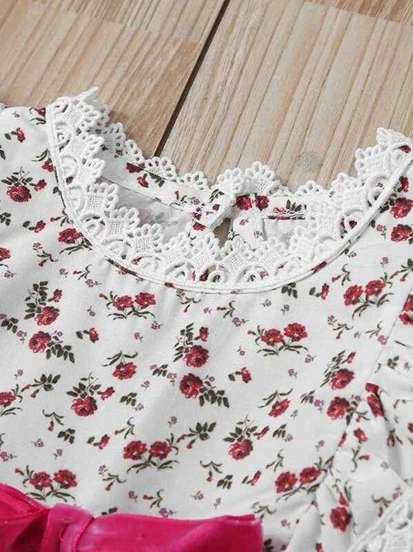 Toddler Girls Contrast Lace Floral Print Babydoll Dress