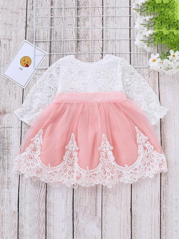 Toddler Girls Contrast Lace Zip Back A-Line Dress