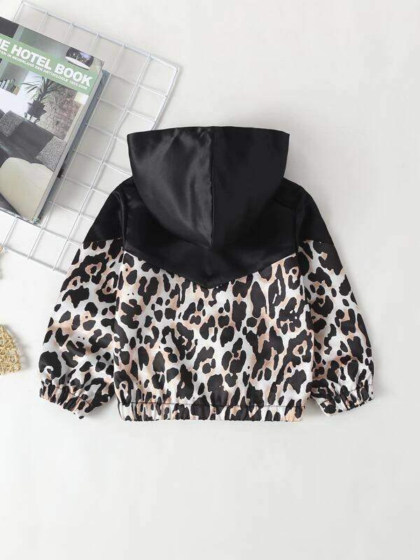 Toddler Girls Contrast Leopard Panel Hooded Jacket