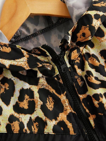 Toddler Girls Contrast Leopard Panel Hooded Windbreaker Jacket